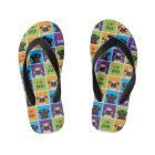I Love Pugs Colour Squares Kid's Flip Flops