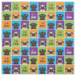 I Love Pugs Colour Squares Large Pattern Fabric