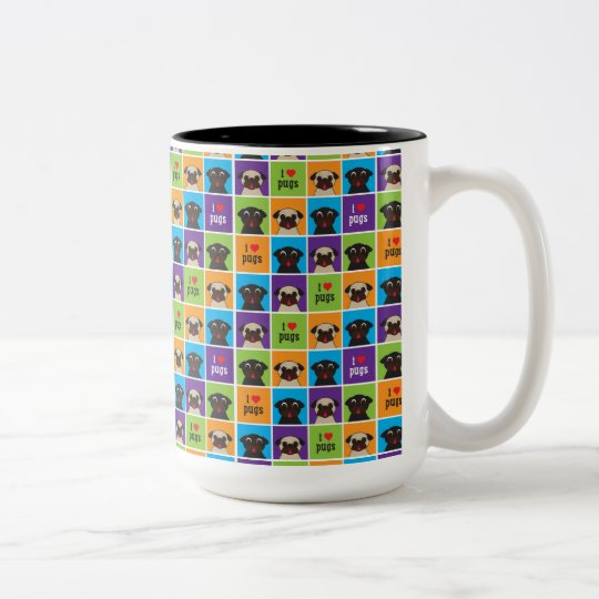 I Love Pugs Colour Squares Two Tone Mug