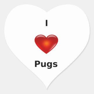 I love Pugs Heart Sticker