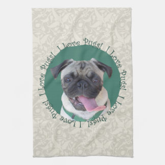 I Love Pugs! Kitchen Towel