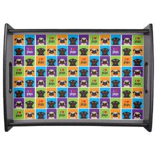 I Love Pugs Large Serving Tray