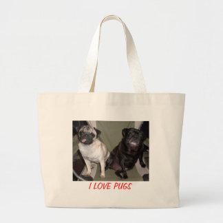 I LOVE PUGS LARGE TOTE BAG