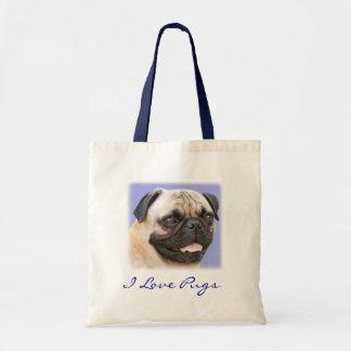 I Love Pugs Portrait Canvas Budget Totebag