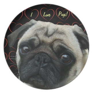 I Love Pugs with Hearts Dinner Plates
