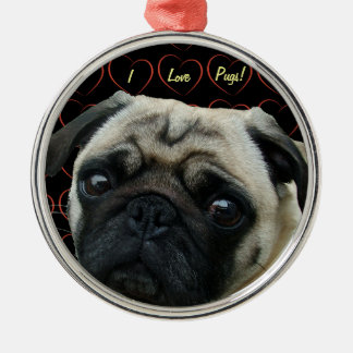 I Love Pugs with Hearts Metal Ornament