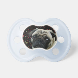 I Love Pugs with Hearts Pacifier