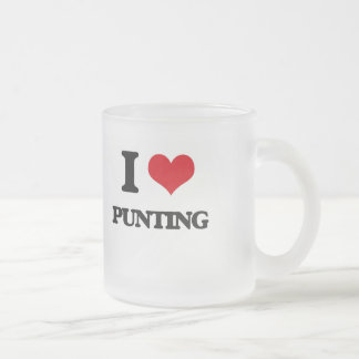 I Love Punting Frosted Glass Mug