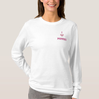I LOVE PUPPIES EMBROIDERED LONG SLEEVE T-Shirt
