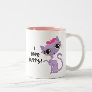 I-Love-Pussy Two-Tone Coffee Mug