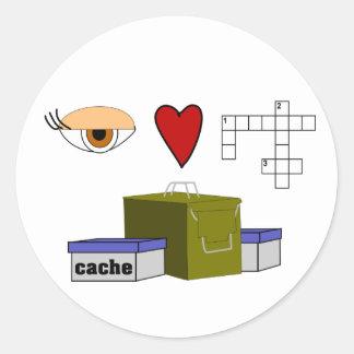 I Love Puzzle Caches Rebus Geocaching Swag Custom Classic Round Sticker