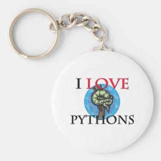 I Love Pythons Basic Round Button Keychain