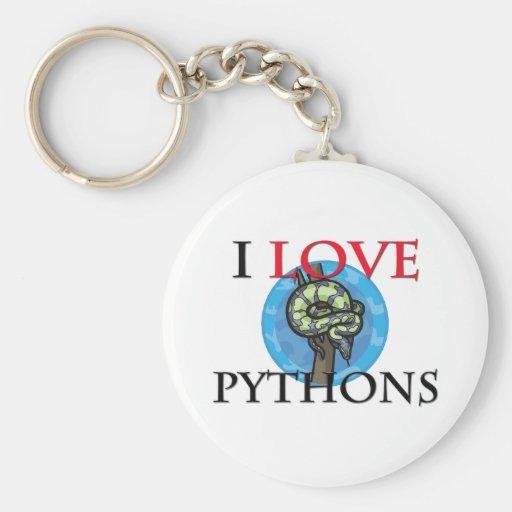I Love Pythons Key Chain