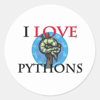 I Love Pythons Round Sticker