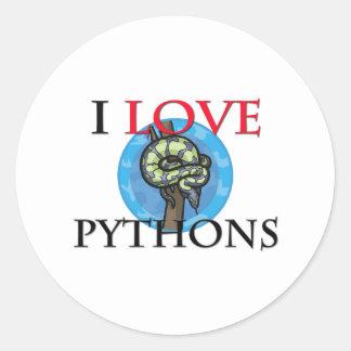 I Love Pythons Stickers