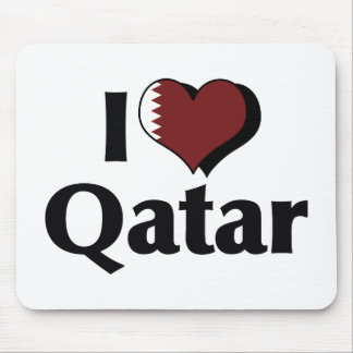 I Love Qatar Flag Mouse Pad
