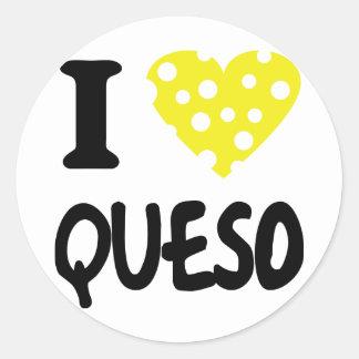 I love queso icon round sticker