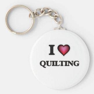 I Love Quilting Basic Round Button Keychain