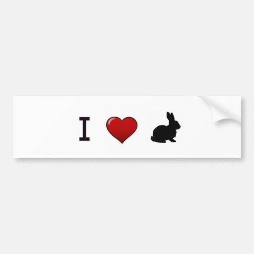 """I Love Rabbits"" Bumper Sticker"