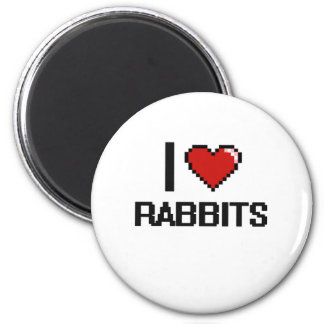I love Rabbits Digital Design 2 Inch Round Magnet