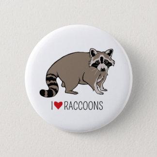 I Love Raccoons - Cartoon Raccoon 2 Inch Round Button