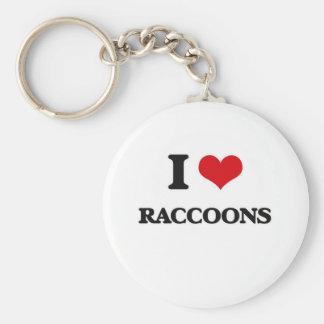 I Love Raccoons Keychain