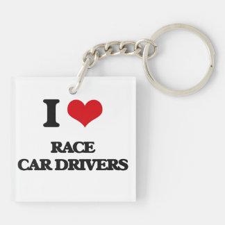 I love Race Car Drivers Square Acrylic Keychain