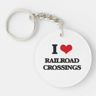 I Love Railroad Crossings Keychain