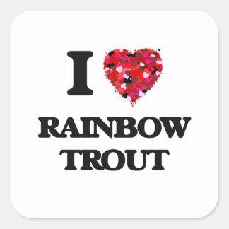 I Love Rainbow Trout food design Square Sticker