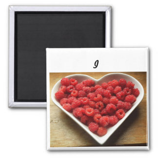 I love raspberries -2 inch square magnet