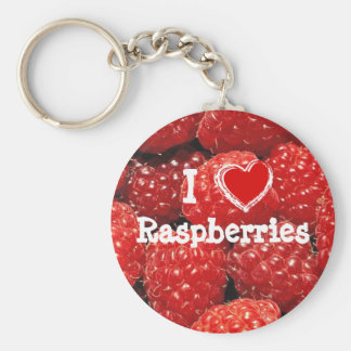 I Love Raspberries Keychain