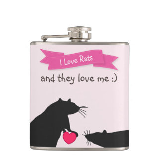 I Love Rats and They Love Me Hip Flask