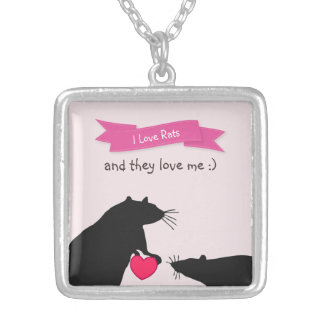I Love Rats and They Love Me Silver Plated Necklace