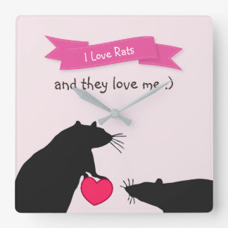 I Love Rats and They Love Me Square Wall Clock