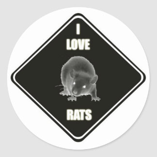I love rats classic round sticker
