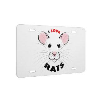 I Love Rats license plate kmcoriginals
