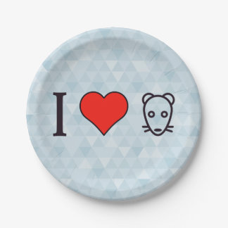 I Love Rats Paper Plate