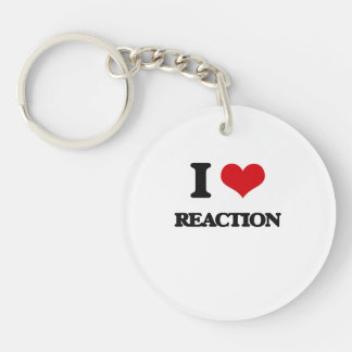 I Love Reaction Round Acrylic Keychain