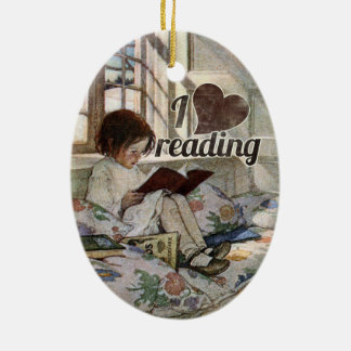 I Love Reading Ceramic Ornament