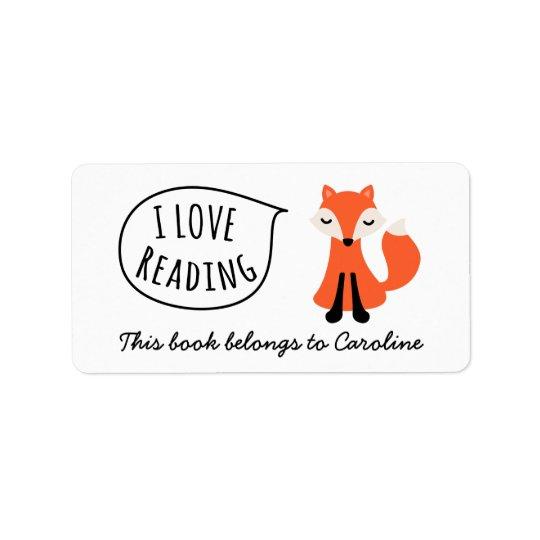 I love reading cute cartoon fox bookplate book
