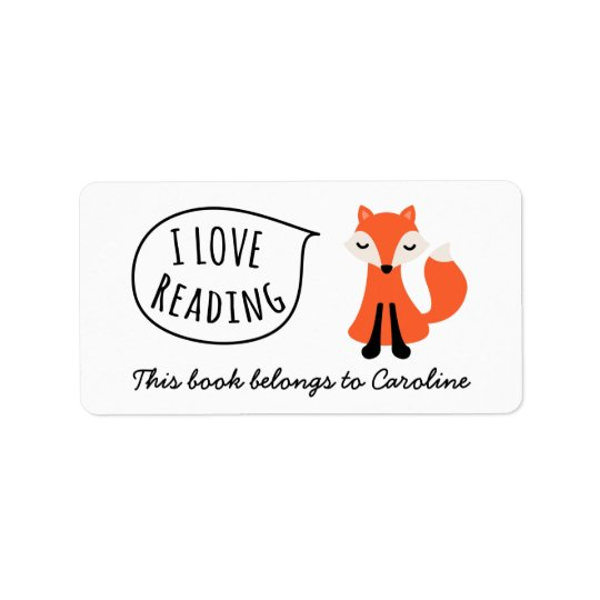 I love reading cute cartoon fox bookplate book label