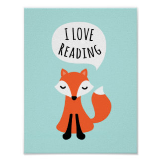 I love reading cute cartoon fox nursery wall art