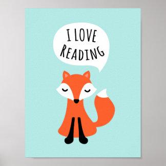 I love reading cute cartoon fox nursery wall art