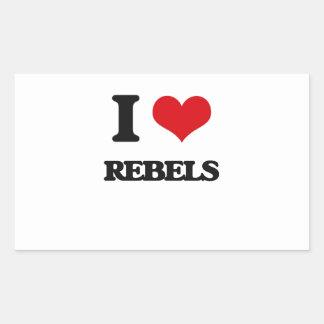 I Love Rebels Rectangular Sticker