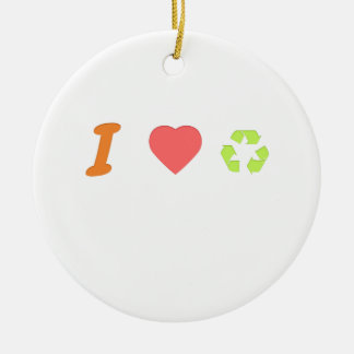 I love recycling round ceramic ornament