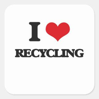 I Love Recycling Square Sticker