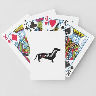 I Love Red Heart my Dachshund Silhouette Poker Deck
