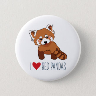 I Love Red Pandas - Cartoon Red Panda 2 Inch Round Button
