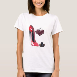 I Love Red Stiletto Shoe and Chocolates Art T-Shirt