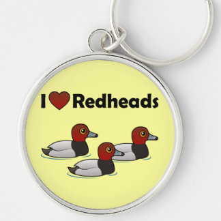 I Love Redheads Silver-Colored Round Keychain
